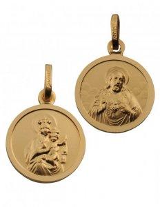 Skapulier-Medaille Messing vergoldet (Double) 14 mm