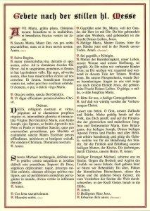Tafeln für die Liturgie Gebete nach der stillen heiligen Messe / Wettersegen