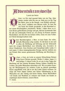 Tafeln für die Liturgie Adventskranzweihe