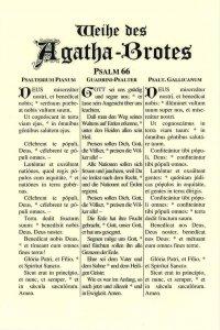 Tafeln für die Liturgie Weihe des Agatha Brotes