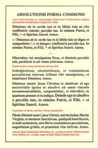 Lateinische Absolutionsformel für die Spendung des Beichtsakraments
