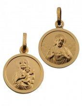 Skapulier-Medaille Messing vergoldet (Double) 10 mm