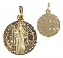Benediktus Medaille Messing vergoldet (Double) 10 mm