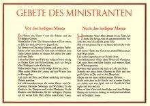 Tafeln für die Liturgie Gebete des Ministranten